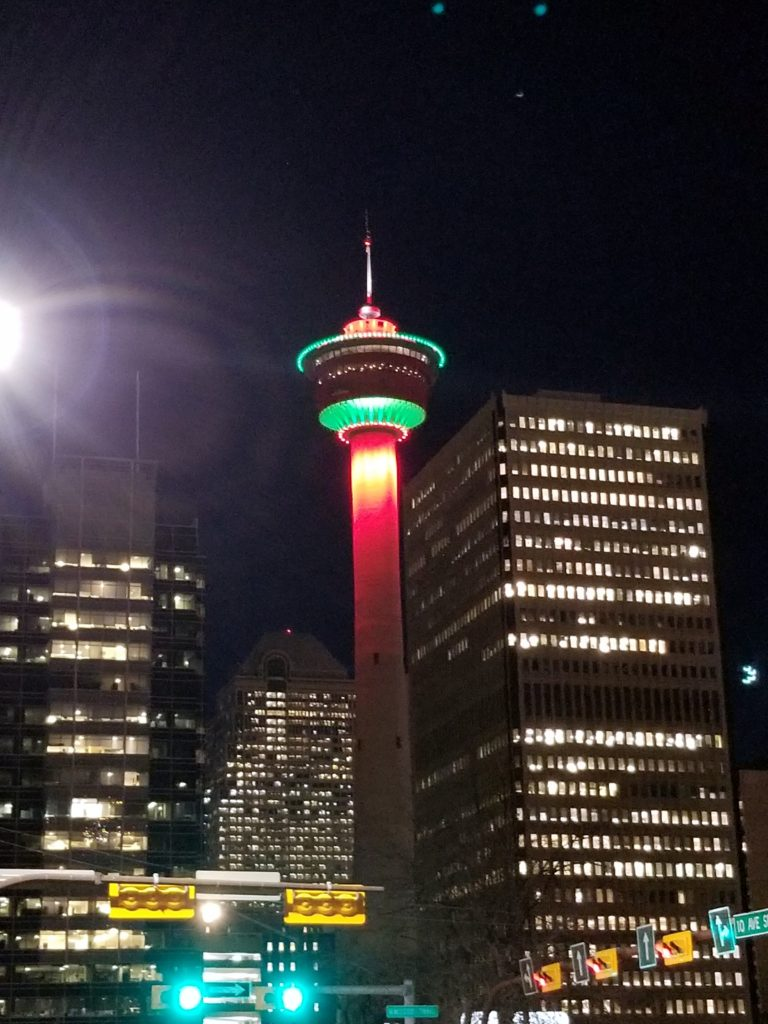 Green and Red Calgary Tower