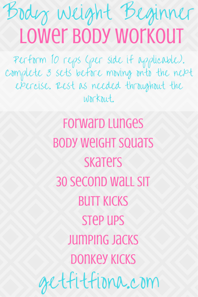 Body Weight Beginner Lower Body Workout
